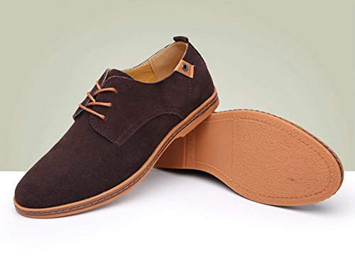 2647d2f1faa6 Men's Classic Suede Leather Dress Shoes Business Casual Oxford Brown