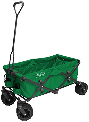 - Creative Outdoor Big Wheel All Terrain Camping, Beach, Garden, for Kids and Toddlers Collapsible Folding Multipurpose Wagon Cart - Green