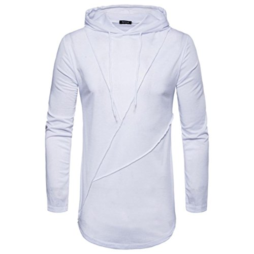 Clearance Mens Hoodie Tops vermers Men's Autumn Pure Color Joint Long Sleeve Sweatshirts T Shirts Blouse(2XL, White) by vermers