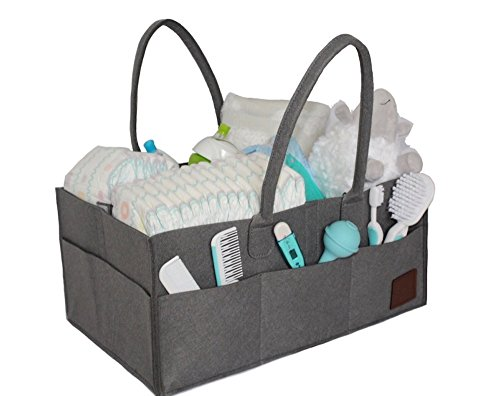 GnA Products Baby Diaper Caddy Organizer – Large/Gray/Adjustable/Lightweight/Baby/Pet/Car/Storage/Bag -