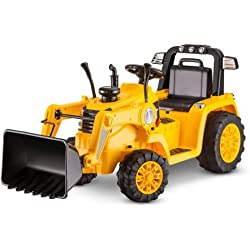 Kidtrax KT1092WM CAT Bulldozer/Tractor 6V Battery, 2.5 Mph Powered Ride-On, Yellow Color
