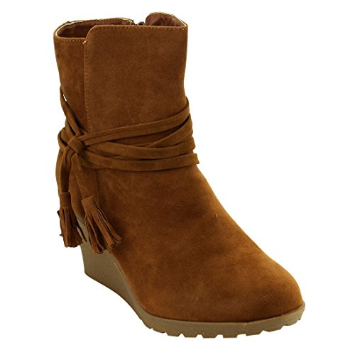 Ankle Wrap Wedge (YOKI EG07 Women's Lace Wrap Side Zipper Lug Sole Wedge Heel Ankle Booties, Color:RUST, Size:7.5)
