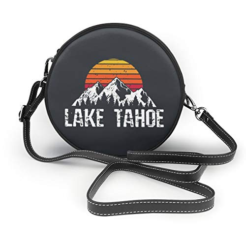 Lake Tahoe Distressed Mountain Sun Outdoor Women Crossbody Bags, Leather Zipper Shoulder Bag Round Cell Phone Purse