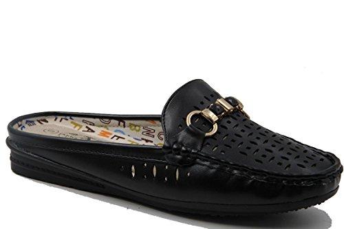 Stylish & Comfort Women's Front Metal Buckle Laser Cut Flat Loafers Slip-On Mules Black ()