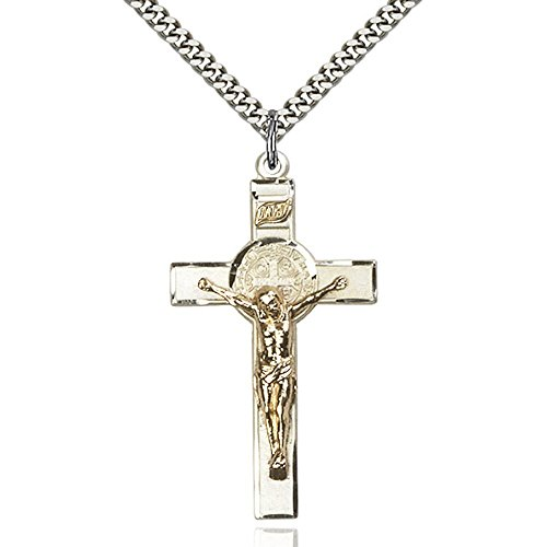 Ss Two Tone Crucifix - Two-Tone GF/SS St. Benedict Crucifix Pendant