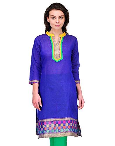 Cenizas Women's Indian Tunic Top Silk Kurti Large Blue