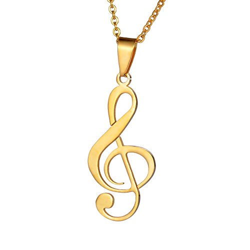 Valyria Stainless Steel Musical Music Note Charm Pendant Necklace 22