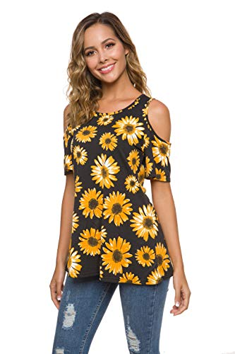 Coreal Womens Short Sleeve Cold Shoulder T Shirts Casual Round Neck Tunic Tops Loose Blouse Black Daisy XX-Large
