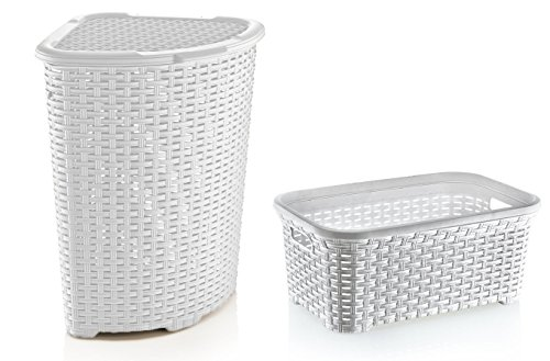 Rattan (Wicker Style) Laundry Set, Corner Hamper and Basket (White Base and Black Trim)