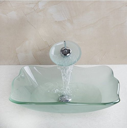 GOWE SquareTempered Glass Vessel Sink With Faucet and Pop-Up Drain Bathroom Sink Set 1