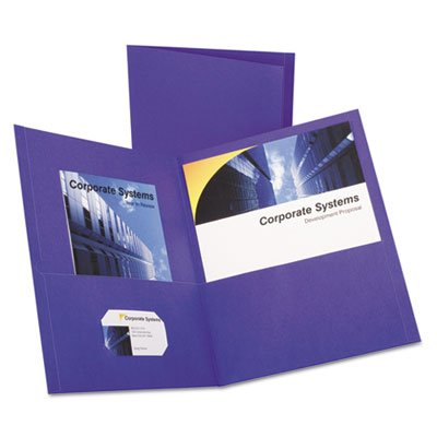 Embossed Grain (Twin-Pocket Portfolio, Embossed Leather Grain Paper, Purple, 25/Box, Sold as 25 Each)