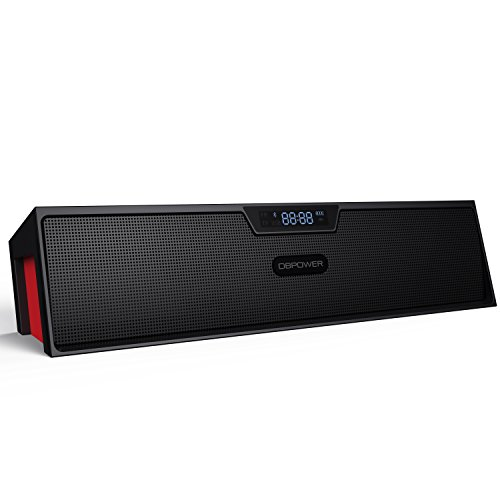 Bluetooth Speaker, DBPOWER BX-100 Wireless Portable Bluetooth Speaker with Enhanced Bass Resonator & LED Display, FM Radio, Alarm Clock, Built-in Microphone, Black Red