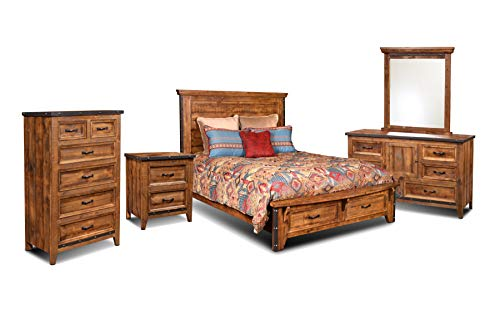 Sunset Trading HH-4365-Q-5PC Rustic City Queen Bedroom Set, Bed Storage Drawers, Natural Oak