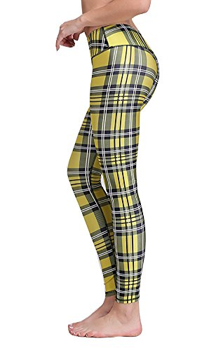 Jescakoo Retro Yellow Plaid Pattern Print High Compression Gym Wear Leggings 15S Yellow Plaid Pants