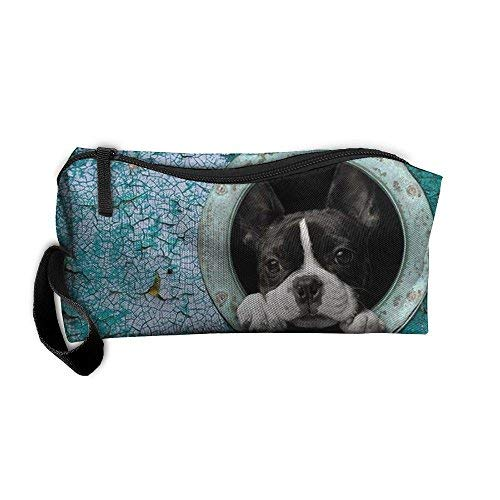 (New Cute Boston Terrier Cosmetic Bag Pencil Case Travel&home Portable Graphic Hanging Toiletry Travel Bag)
