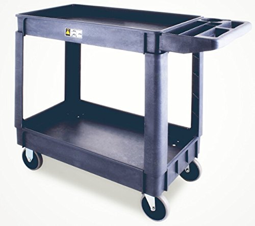 TOTOOL Plastic Utility Cart 550 LBS Capacity Commercial Service Cart with 2 Shelves Tub Storage Cart for Securely Storing and Transporting (2 Shelves 550 lbs Capacity) (Capacity Service Cart)