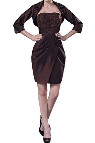 Missdressy Elegant Taft Kurz mit Bolero Tuell Falten Partykleider Abendkleider Cocktaikleider Mutterkleider