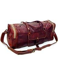 Firu-Handmade 20 Vintage Style Leather Brown Duffel Gym Sports Luggage Travel Bag Handmade