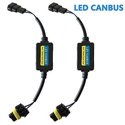 9005 9006 LED Headlight Canbus Error Free Anti Flicker Resistor Decoder (Pack of 2)