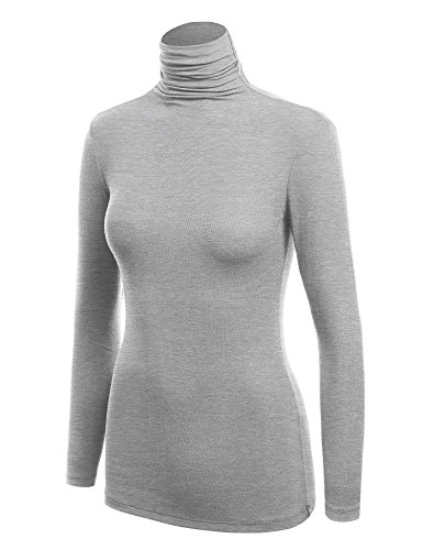 WSK1030 Womens Long Sleeve Ribbed Turtleneck Pullover Sweater S Heather_Grey