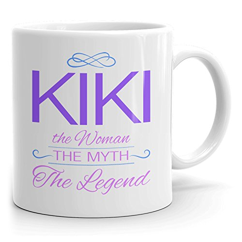 Kiki Coffee Mugs - The Woman The Myth The Legend - Best Gifts for Women - 11oz White Mug - Purple