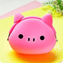 Lovely Mini Candy Color Cartoon Animal Women Wallet Multicolor Jelly Silicone Coin Bag Purse Kid Gift,Pink Pig