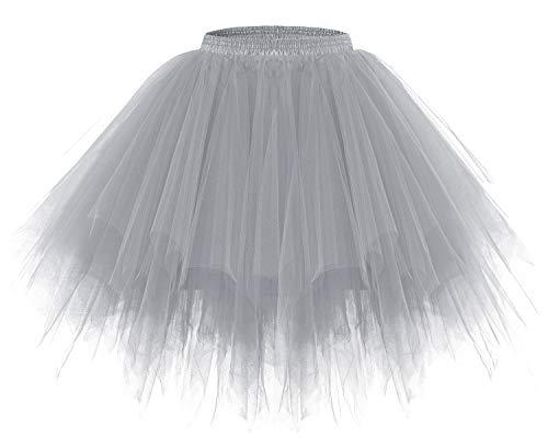 Bridesmay Women's Tutus Tulle Skirt 50s Vintage Petticoat Ballet Bubble Skirts Grey XL ()