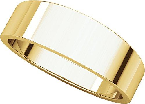 Mens 18K Yellow Gold, Flat Tapered Wedding Band 6MM (sz 9.5)