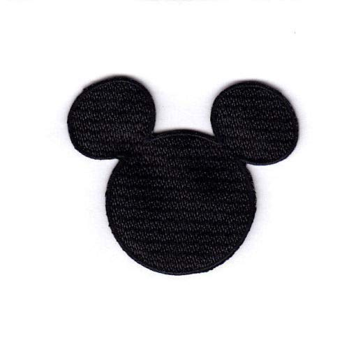 Mickey Mouse Iron - Embroidery Patch Disney Mickey Mouse Black Head Small Iron On, 2 1/4