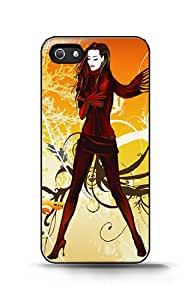 Custom iPhone Case - Vector Wall - Girl For Apple iPhone 5/5s Hard Back Cover Case