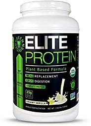 Elite Protein - Organic Plant Based Protein Powder, Vanilla, Pea and Hemp Protein, Muscle Recovery and Meal Re