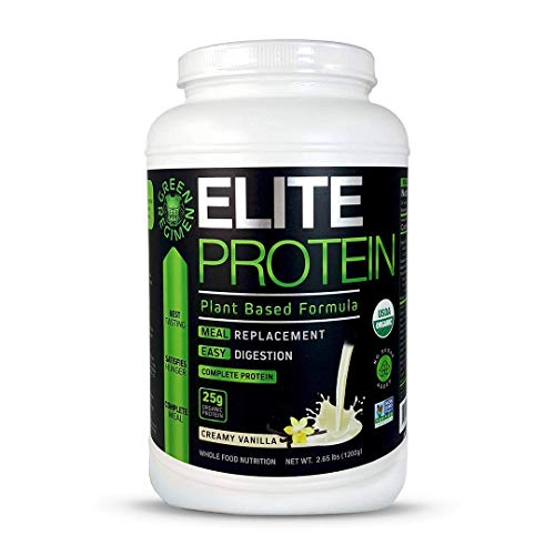 Elite Protein - Organic Plant Based Protein Powder, Vanilla, Pea and Hemp Protein, Muscle Recovery and Meal Replacement Protein Shake, USDA Organic, Non-GMO, Dairy-Free - Vegan - 30 Servings