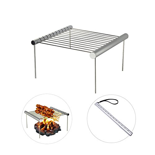- AOVOA Portable Camping Grill, Folding Compact Charcoal Barbeque Grill for Outdoor, Picnics, Backpacking, Backyards, Survival