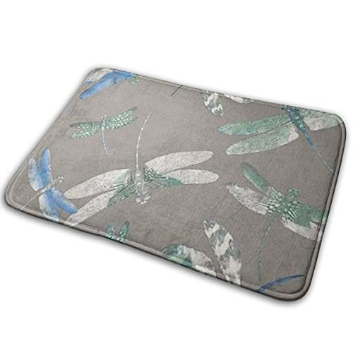 LNUO-2 Indoor Outdoor Entrance Doormat Dragonfly Pattern Rug Floor Mats for High Traffic Areas, Easy Clean