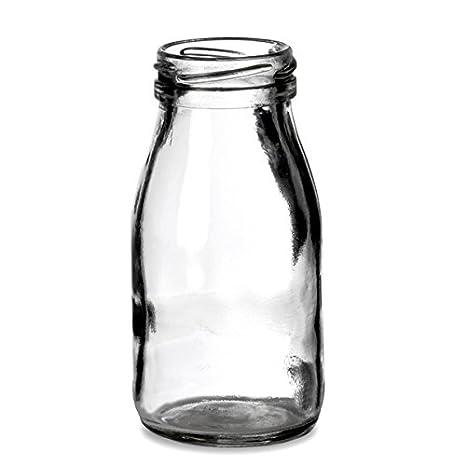 Mini botellas de leche 7 oz/200 ML - - Vintage juego de 4 botellas de cristal para servir cócteles, batidos y más: Amazon.es: Hogar