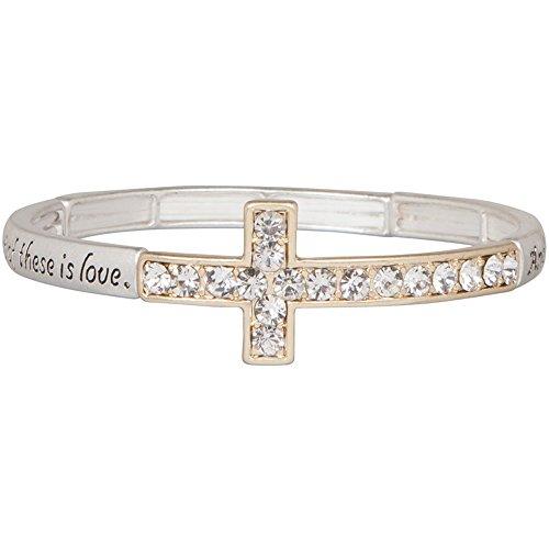 Sideways Crystal Cross Fashion (Heirloom Finds Two Tone 1 Corinthians 13:13 Crystal Cross Stretch)