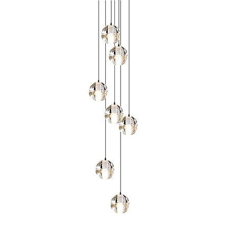 CARYS Lámpara Araña de Techo de Cristal, LED 7-light para ...