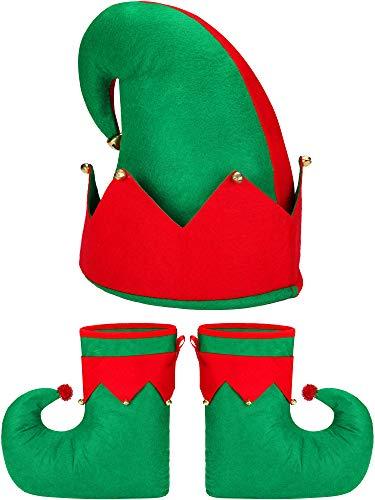 Santa Elf Costume Set Novelty Elf Shoes Elf Hat for Adult Christmas Costume Accessories
