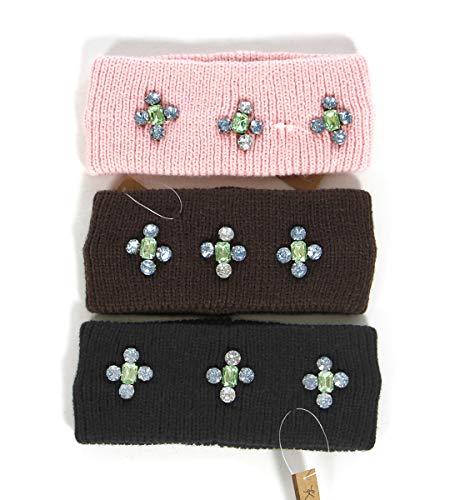 Knit headband, head wrap, ear warmer, cable crochet, for women, 3PCS SET, Rhinestone embellished
