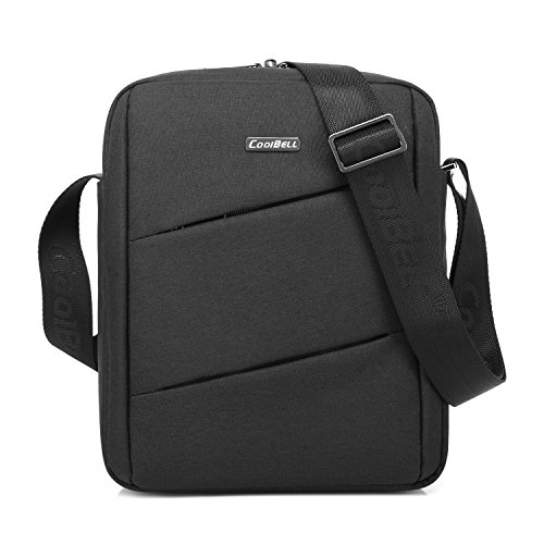 CoolBELL 10.6 Inch Shoulder Bag Carrying Day Bag with Adjustable Shoulder Strap Simple Style Sleeve Case for Tablet/iPad (Black)