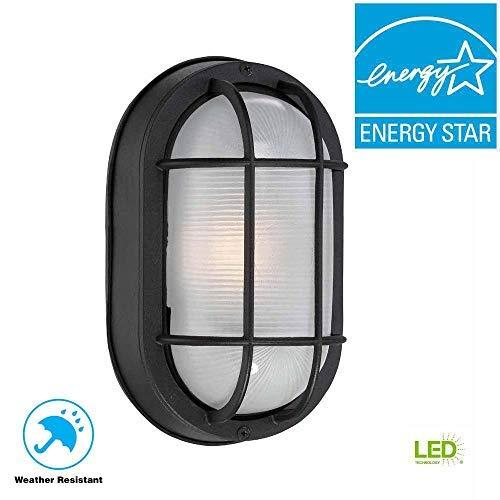 Hampton Bay Black Outdoor LED Wall Lantern [並行輸入品] B07RB2DNJL