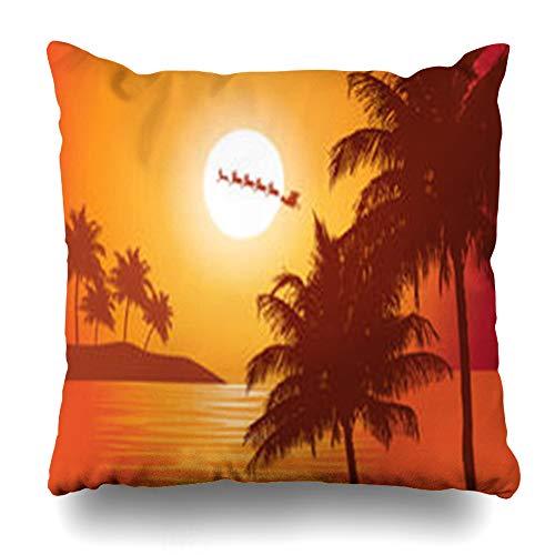 AileenREE Throw Pillow Covers Australia Christmas Santas Ride Claus Rides Past Holidays Brazil Nature Beach Hawaii Palm Sleigh Pillowcase Square Size 16 x 16 Inches Home Decor Cushion Cases