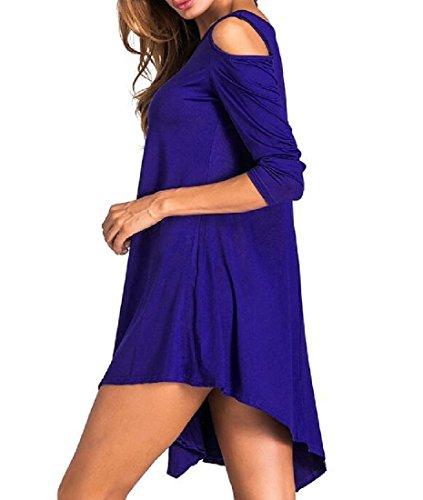 Neck Blue Short Crew Women Dark Dresses Strapless Coolred Unbalanced 6Txzw8