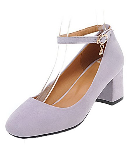 VogueZone009 Women's Closed-Toe Buckle Kitten-Heels Frosted Solid Pumps-Shoes Purple trkayHQ