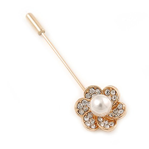Gold Tone Clear Crystal White Pearl Flower Lapel, Hat, Suit, Tuxedo, Collar, Scarf, Coat Stick Brooch Pin - 55mm L