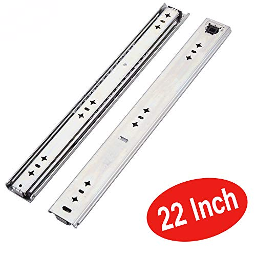 VESLA HOME 210 LB Soft Close Hardware Ball Bearing Side Mount Full Extension Drawer Slides, Heavy Duty Slides, 1 Pair 22 Inches Length 2.08 Inches Wide
