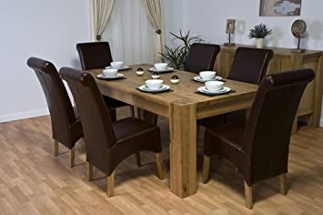 Solid Oak Dining Room Furniture Table 6 100 Real Leather Chairs