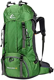 60L Waterproof Lightweight Hiking Backpack with Rain Cover,Outdoor Sport Travel Daypack for Climbing Camping T