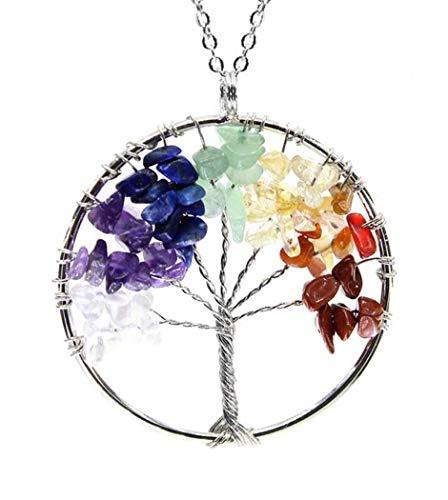 (Tree of Life Chakra Pendant Necklace Natural Gemstone Chakra Jewelry 26