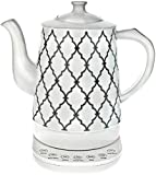 Ceramic Tea Kettle with 5 Temperature Presets - 1.6L Electric Precision Gooseneck Pour Over Teapot has Detachable Base, Dry Boil Protection, Keep Warm Function, and Beautiful Trellis Pattern